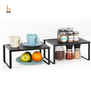 Cabinet Shelf Organizers, Stackable, Expandable, Set of 2 Metal Kitchen Counter Shelves- Black