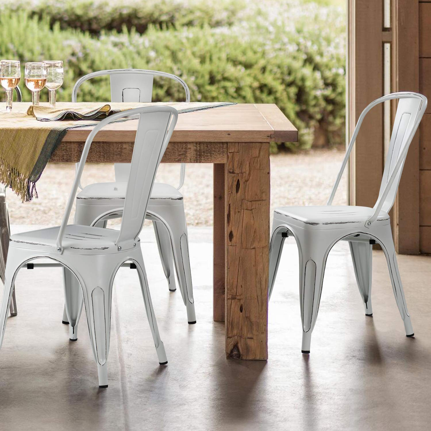 distress metal dining chairs