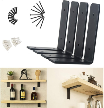 Rustic Solid Steel Strong Heavy Duty DIY L Set Cast Iron Metal Wall Floating Shelf Brackets