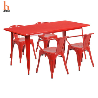 H JINHUI Metal Chair And Table Set for Restaurant/Bistro/Patio OEM Service, Logo Print Best Price Direct From Factory