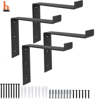 H JINHUI Thick Heavy-Duty Shelf Brackets Steel Metal Wall Floating Brace
