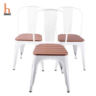 H-jinhui Metal Dining Chair with Plastic Wood Cushion