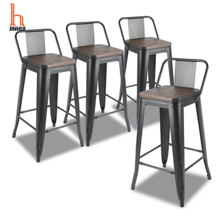 H Jinhui 24/26 Inch Metal Bar Stool/Metal Counter Stool with Back