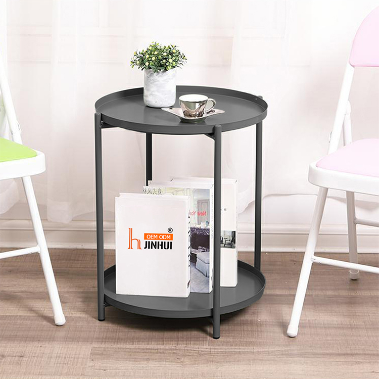 H Jinhui Round Coffee Table End Table Side Table with Storage 2 Layer Tray Sofa Table Corner Table for Living Room