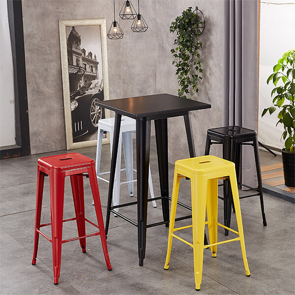 H JINHUI Commercial High Backless Metal Indoor Outdoor Stackable Bar Stool with Square Seat