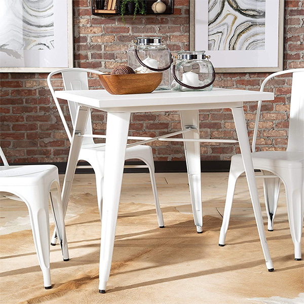H JINHUI Furniture Commercial Grade 70CM Square White Metal Indoor and Outdoor Table