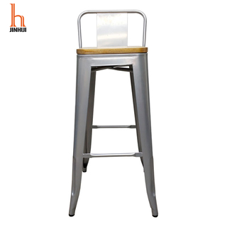 H Jinhui Metal Counter Height Bar Stools with Backs And Wood Seat